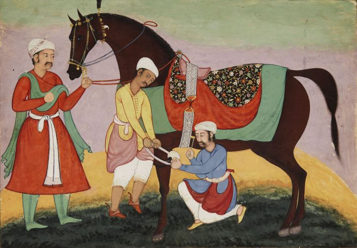 A Groom Shoeing a horse- Mughal.jpg