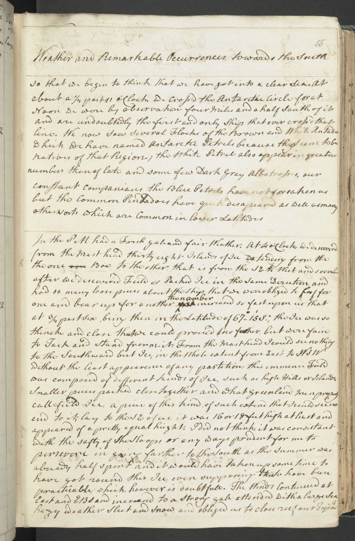 Cook's journal entry describing first crossing of Antarctic Circle, 17 January 1773 (c) British Library Board.jpg