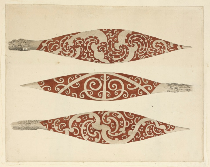 Three Paddles from New Zealand by Sydney Parkinson, 1769.jpg