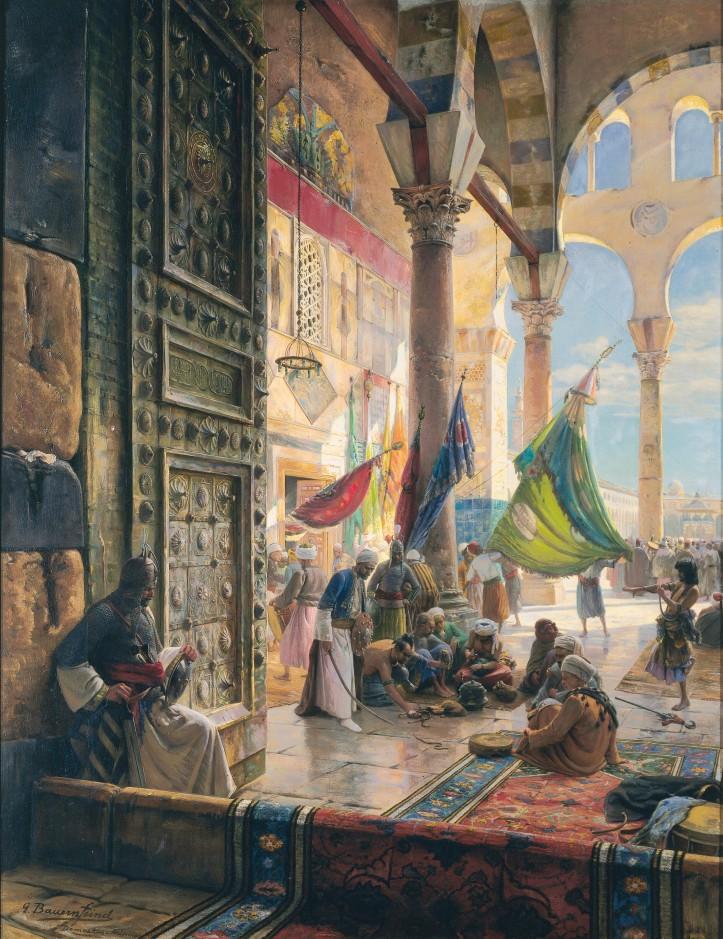 Gustav Bauernfeind, Forecourt of the Ummayad Mosque,  Damascus,1890.jpg