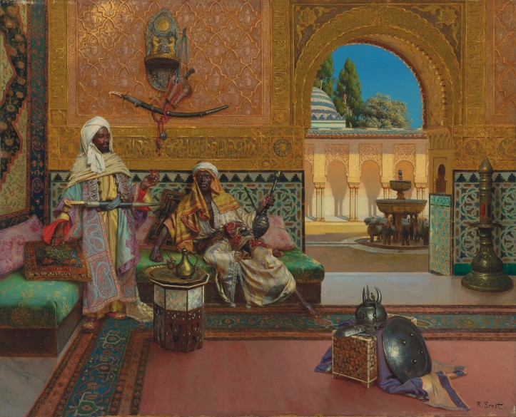 Rudolph Ernst's Two warriors in the Alhambra palace, the Court of Lions ....jpg