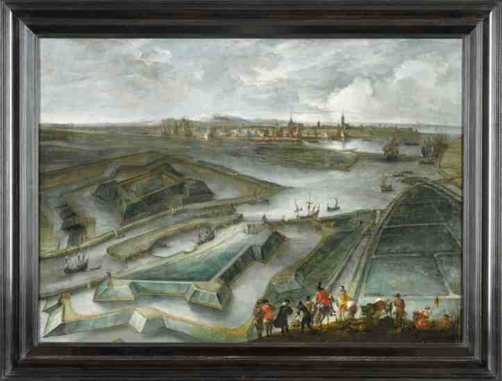 Hendrik van Minderhout, A view of Ostend, with the Fort Saint Philippe and the Slijkens Sluice, with figures in the foreground and the flag of Flanders, Est. £20,000 – 30,000 copy.jpg